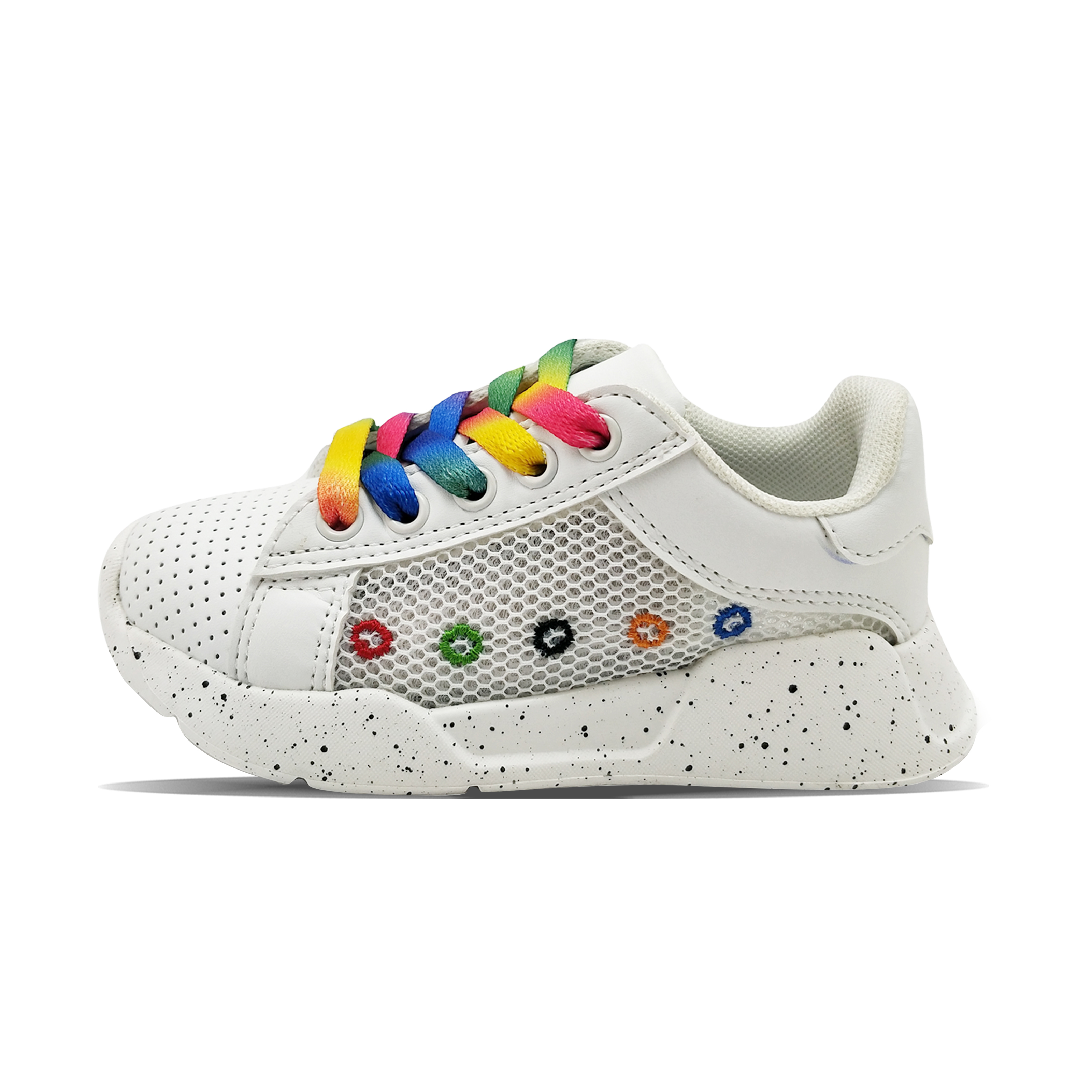 Rainbow color lace dotted outsole decoration white sports shoes