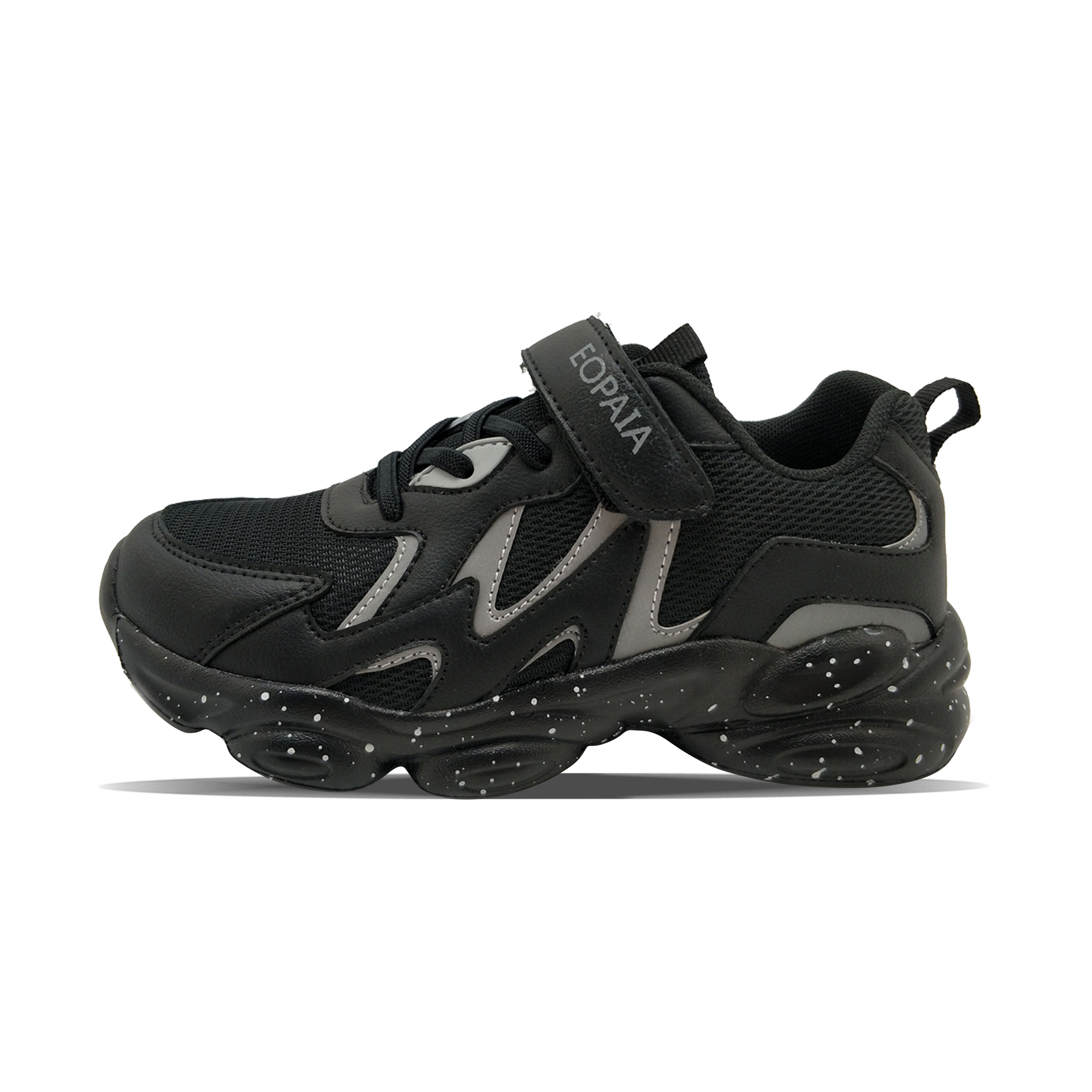 Black reflective leather PU mesh breathable winter boy's sports shoes