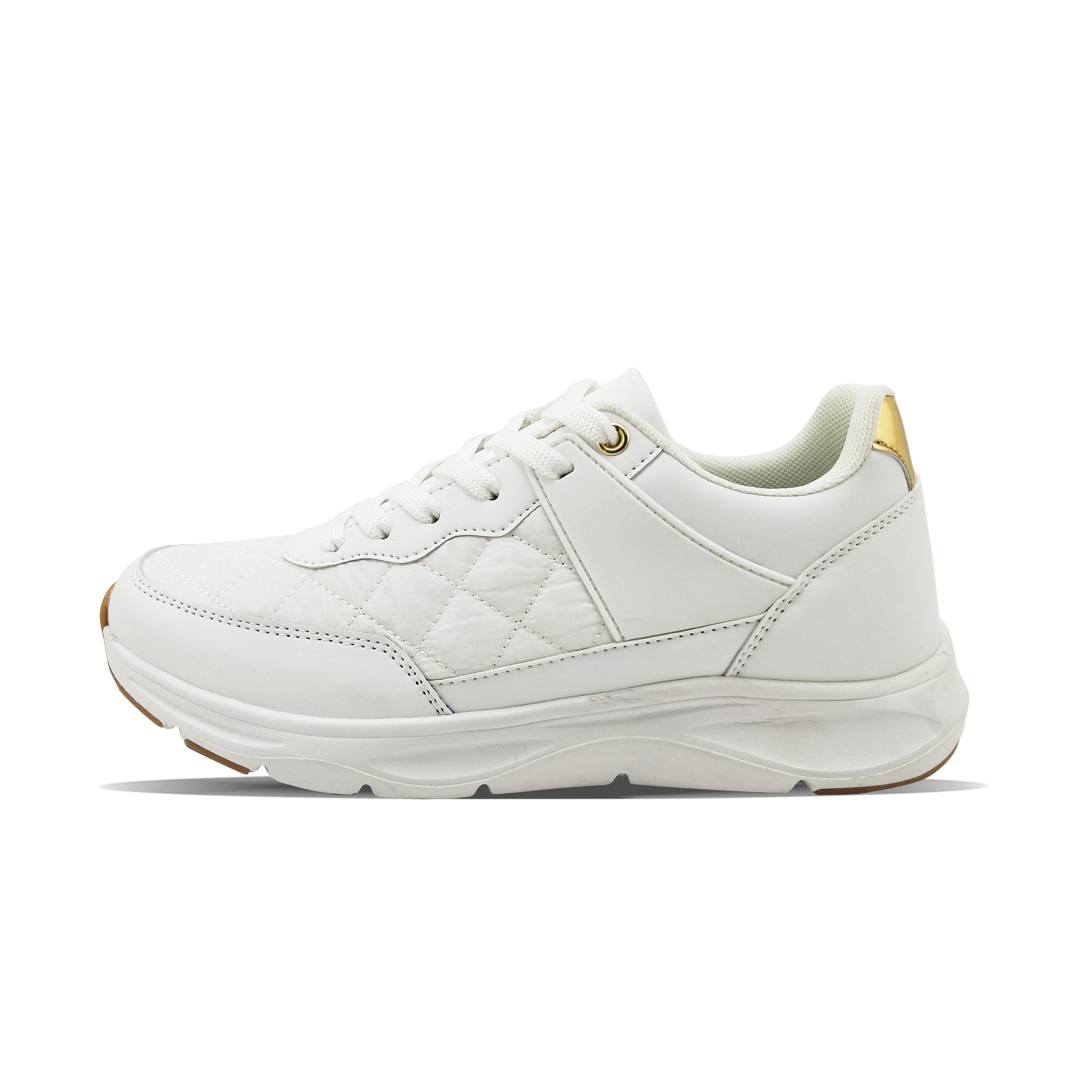 metallic leather white women's fashion casual shoes