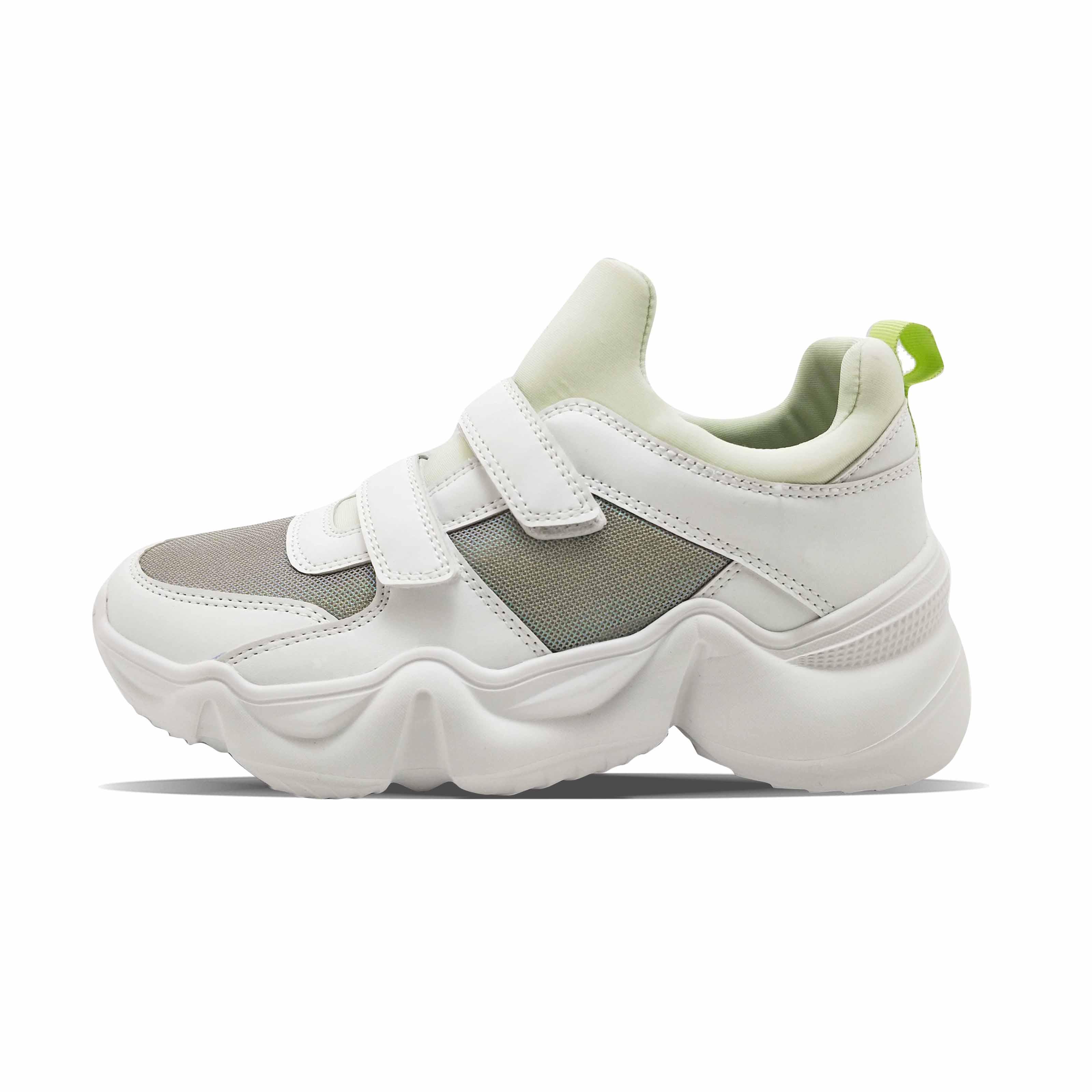 Elastic mesh PU fashion trunky women's casual shoes