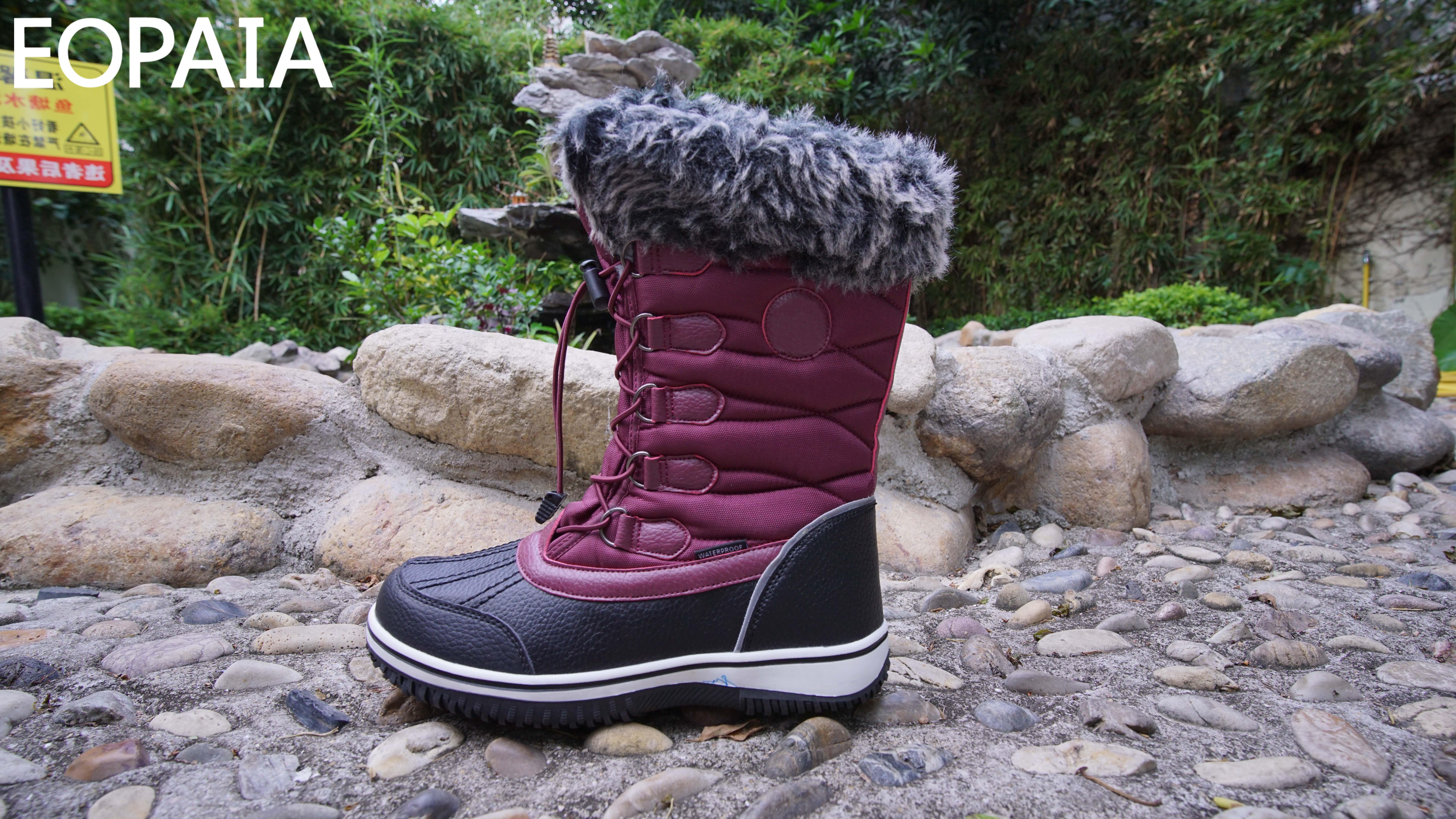 Bottes d'alpinisme haut de gamme doublées de laine pour femmes